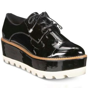 DKNY Black Uptown Patent Leather Platform Oxford